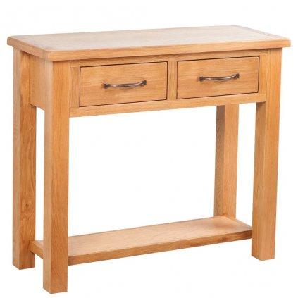 Konzolový stolek se 2 zásuvkami - dub | 83x30x73 cm