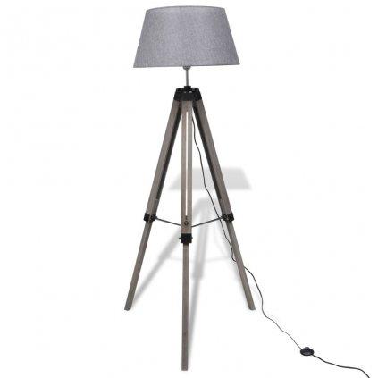 Dřevěná stojací lampa nastavitelná trojnožka | šedá