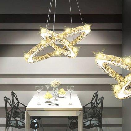 Dvojitý kruh LED křišťálové závěsné svítidlo | 23,6 W