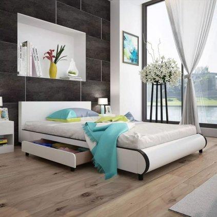 Postel s 2 zásuvkami - umělá kůže - bílá | 140x200 cm