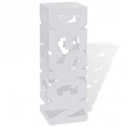 Bílý hranatý stojan na deštníky a vycházkové hole - ocelový | 48,5 cm