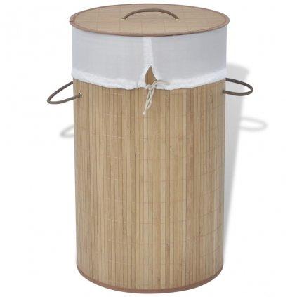 Bambusový koš na prádlo - kulatý - přírodní