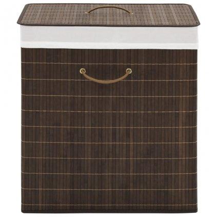 Bambusový koš na prádlo - čtverhranný - tmavě hnědý
