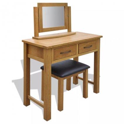Dubový toaletní stolek se stoličkou