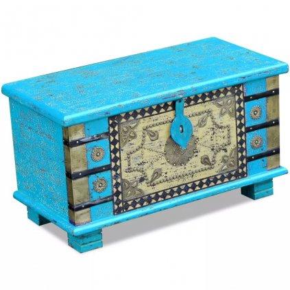Úložná truhla modrá z mangovníkového dřeva 80x40x45 cm
