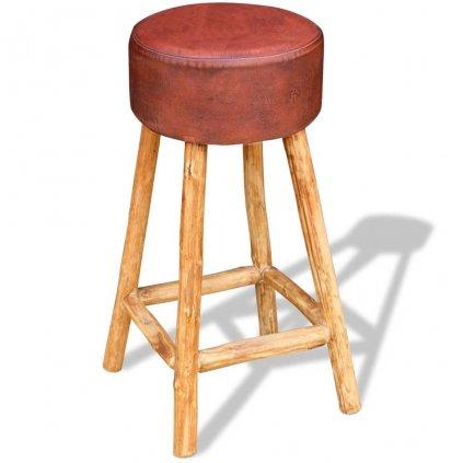 Barová stolička - pravá kůže - hnědá | 35x78 cm