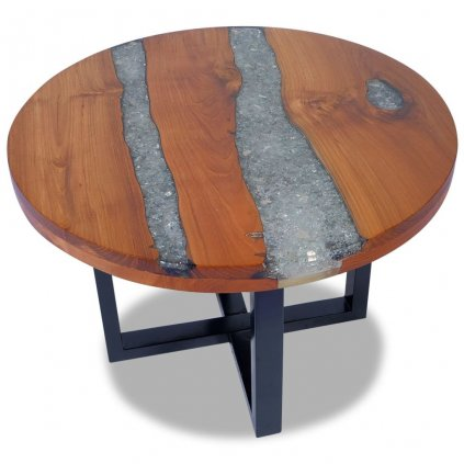 Konferenční stolek - teak a pryskyřice | 60 cm