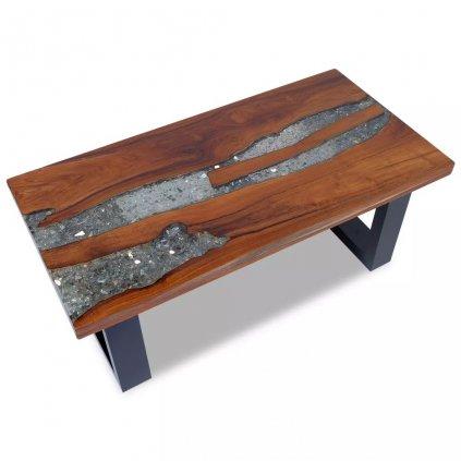 Konferenční stolek - teak a pryskyřice | 100x50 cm
