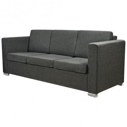 Trojmístná sedačka Lakeport - textilní čalounění | tmavě šedá