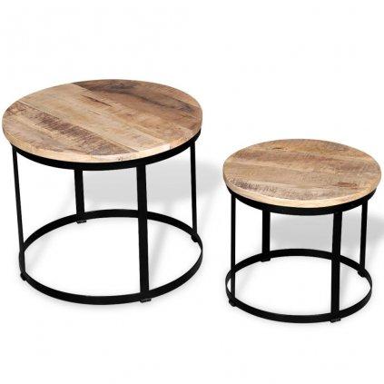 2 konferenční stolky - hrubé mangovníkové dřevo | 40cm/50cm