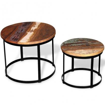 2 konferenční stolky - masivní recyklované dřevo - kulaté | 40cm/50cm