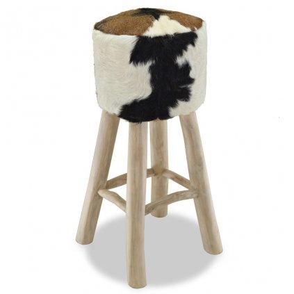 Barová stolička - kulatá | pravá kůže a teak
