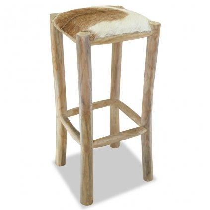 Barová stolička - hranatá | pravá kůže a teak