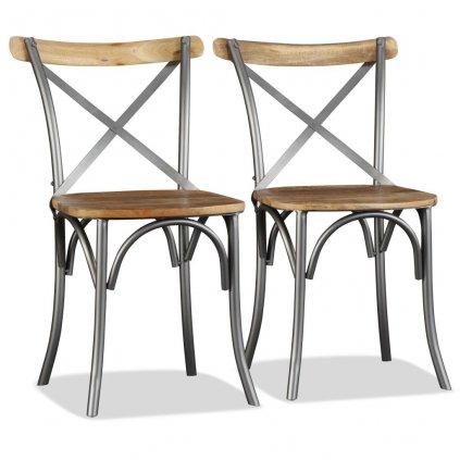 Jídelní židle - 2 ks - masivní mangové dřevo s křížovým opěradlem