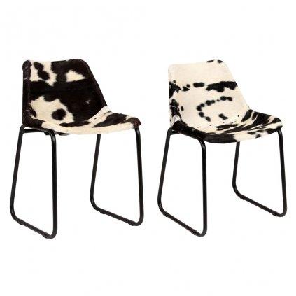 Jídelní židle - 2 ks - z pravé kozí kůže