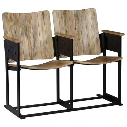 2-místná lavice z masivního mangovníku a oceli | 102x55x83 cm