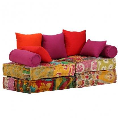 2-místná rozkládací pohovka Hudson s textilním čalouněním | patchwork