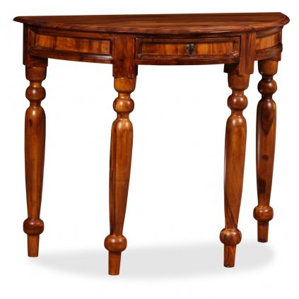 Konzolový stolek - masivní sheesham - polokulatý | 90x40x76 cm