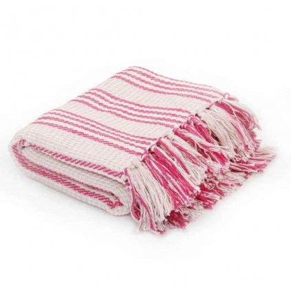 Bavlněný přehoz s pruhy - růžovo-bílý | 160x210 cm