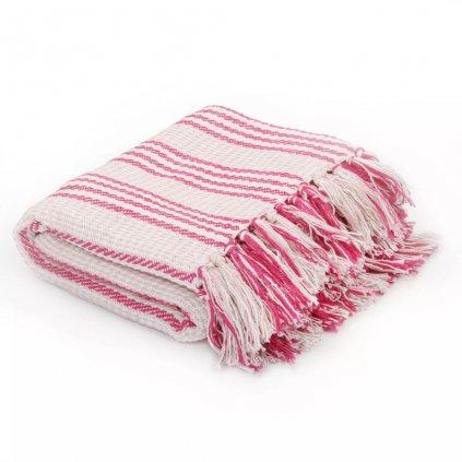 Bavlněný přehoz s pruhy - růžovo-bílý | 220x250 cm