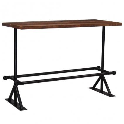 Barový stůl Dural -  masivní dřevo -150x70x107 cm | tmavě hnědý