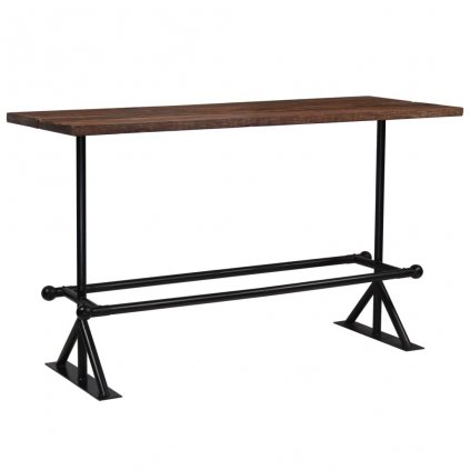Barový stůl Dural - masivní dřevo - 180x70x107 cm | tmavě hnědé