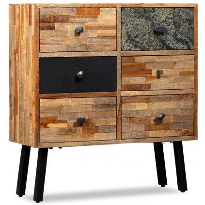 Boční skříňka s 6 zásuvkami - recyklovaný teak | 70x30x76 cm