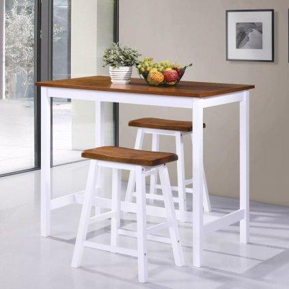 Barový stůl a stoličky sada 3 kusů z masivního dřeva