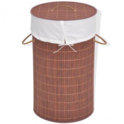 Bambusový koš na prádlo - kulatý - hnědý