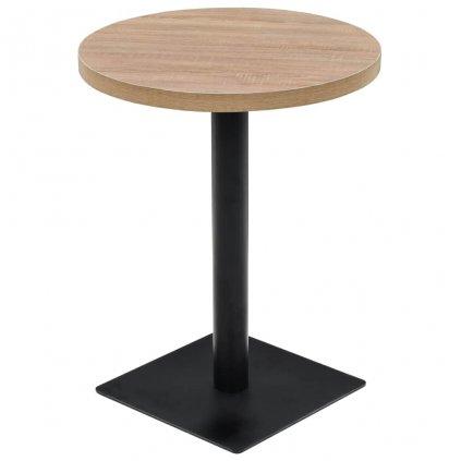 Bistro stůl - deska a ocel - kulatý - 60x75 cm | dub