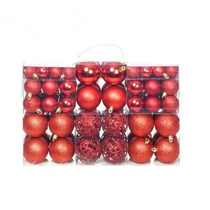 Sada vánočních baněk - 100 kusů - 6 cm   červená
