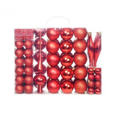 Sada vánočních baněk - 113 kusů - 6 cm | červená