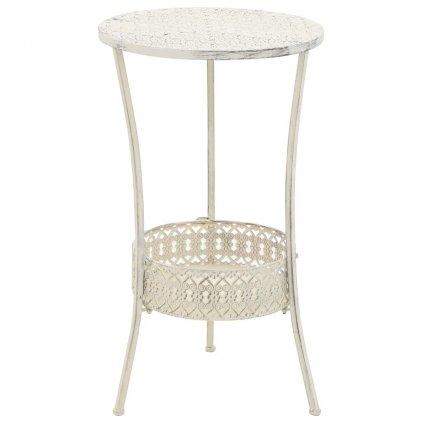 Bistro stolek - vintage styl - kulatý - kovový - 40x70 cm | bílý
