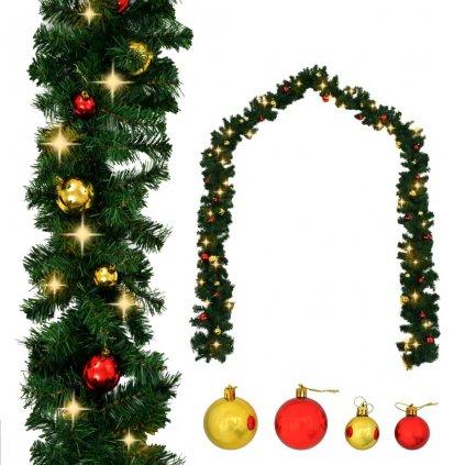 Vánoční girlanda ozdobená baňkami a LED světýlky | 10 m