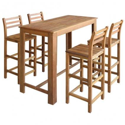 Barový stůl a židle sada 5 kusů z masivního akáciového dřeva