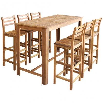 Barový stůl a židle sada 7 kusů z masivního akáciového dřeva