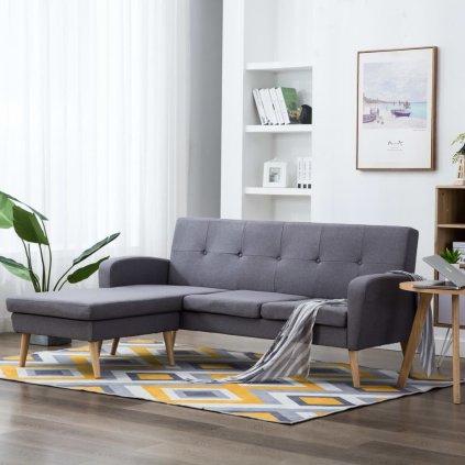 Rohová sedačka Crete - textilní čalounění - světle šedá | 186x136x79 cm