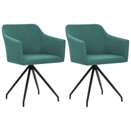 Jídelní židle - 2 ks - otočné - zelené | textilní čalounění