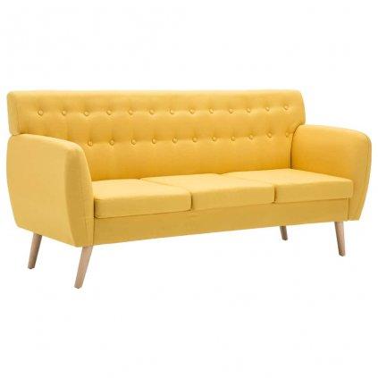 Trojsedačka s textilním čalouněním - žlutá | 172x70x82 cm