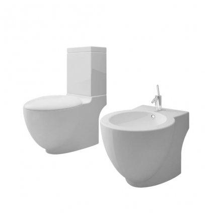 Bílá keramická toaleta a bidet