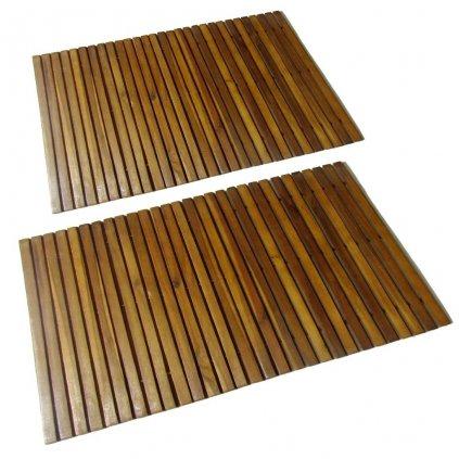 Koupelnová předložka z akáciového dřeva - 2 ks | 80x50 cm