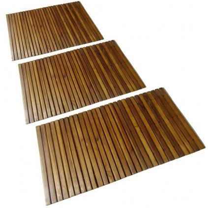 Koupelnová předložka z akáciového dřeva - 3 ks   80x50 cm