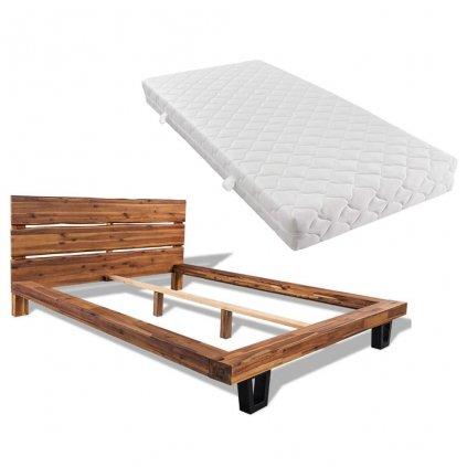 Postel Cubero s matrací - masivní akáciové dřevo | 140x200 cm