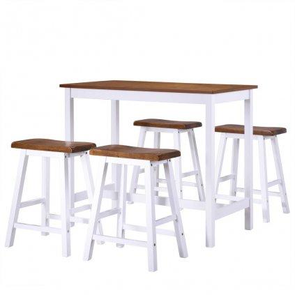 Barový stůl a stoličky sada 5 kusů z masivního dřeva