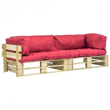 2-dílná zahradní pohovka z palet - FSC borovice | červené podušky