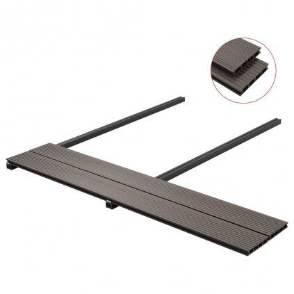 Podlahová prkna na terasu - WPC + příslušenství - 10 m² - 2,2 m | tmavě hnědá