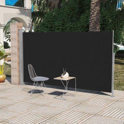 Boční markýza / zástěna na terasu zatahovatelná - 160x300 cm | černá