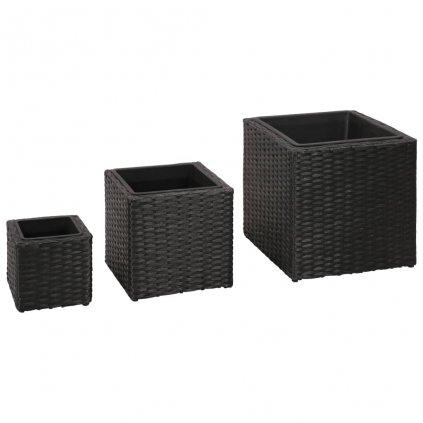Sada zahradních čtvercových ratanových květináčů 3 ks | černé