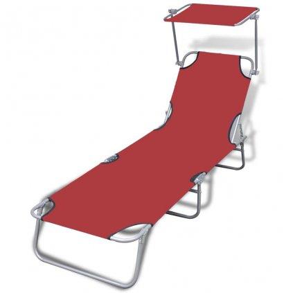 Skládací opalovací lehátko se stříškou - ocel a textil   červené