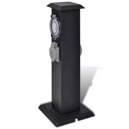 Zahradní elektrická zásuvka - sloupek s časovačem | černý